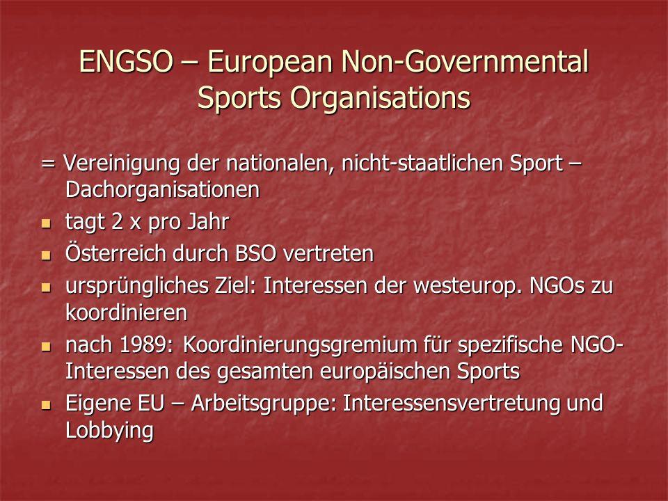 ENGSO – European Non-Governmental Sports Organisations = Vereinigung der nationalen, nicht-staatlichen Sport – Dachorganisationen tagt 2 x pro Jahr tagt 2 x pro Jahr Österreich durch BSO vertreten Österreich durch BSO vertreten ursprüngliches Ziel: Interessen der westeurop.