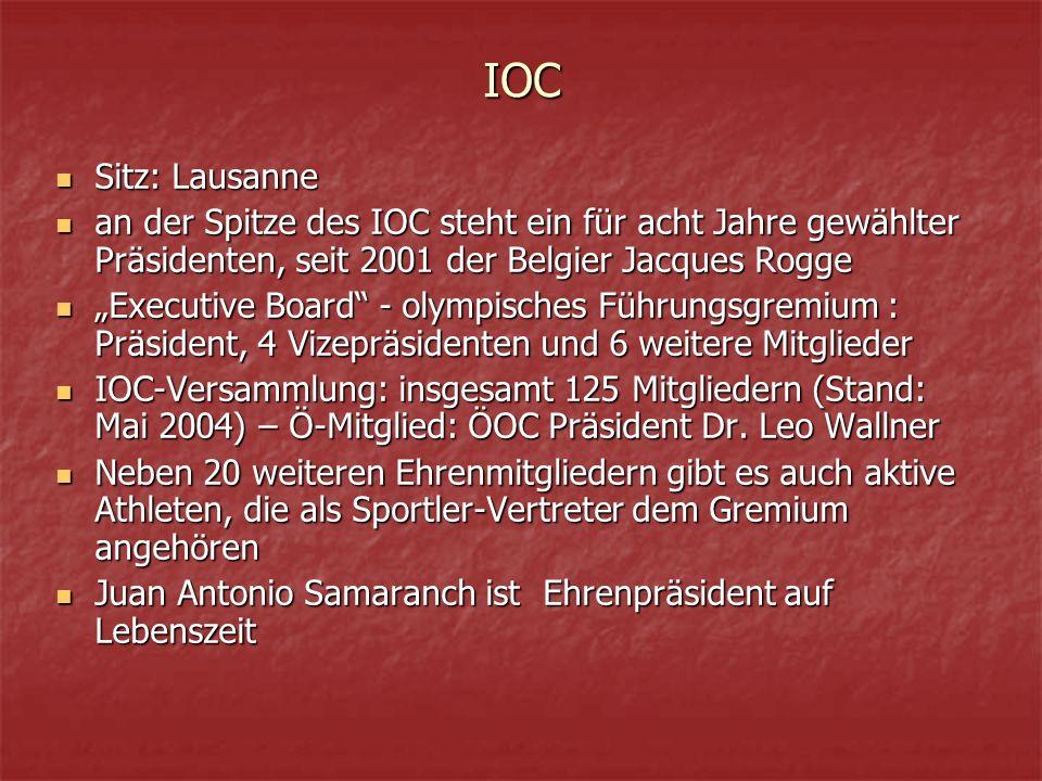 """IOC Sitz: Lausanne Sitz: Lausanne an der Spitze des IOC steht ein für acht Jahre gewählter Präsidenten, seit 2001 der Belgier Jacques Rogge an der Spitze des IOC steht ein für acht Jahre gewählter Präsidenten, seit 2001 der Belgier Jacques Rogge """"Executive Board - olympisches Führungsgremium : Präsident, 4 Vizepräsidenten und 6 weitere Mitglieder """"Executive Board - olympisches Führungsgremium : Präsident, 4 Vizepräsidenten und 6 weitere Mitglieder IOC-Versammlung: insgesamt 125 Mitgliedern (Stand: Mai 2004) – Ö-Mitglied: ÖOC Präsident Dr."""