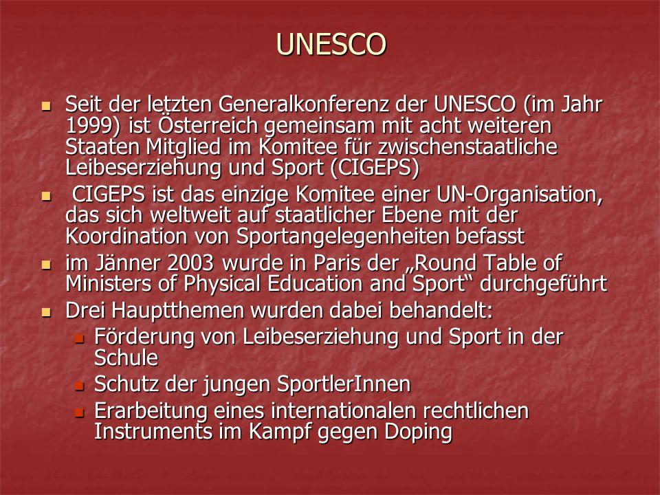 """UNESCO Seit der letzten Generalkonferenz der UNESCO (im Jahr 1999) ist Österreich gemeinsam mit acht weiteren Staaten Mitglied im Komitee für zwischenstaatliche Leibeserziehung und Sport (CIGEPS) Seit der letzten Generalkonferenz der UNESCO (im Jahr 1999) ist Österreich gemeinsam mit acht weiteren Staaten Mitglied im Komitee für zwischenstaatliche Leibeserziehung und Sport (CIGEPS) CIGEPS ist das einzige Komitee einer UN-Organisation, das sich weltweit auf staatlicher Ebene mit der Koordination von Sportangelegenheiten befasst CIGEPS ist das einzige Komitee einer UN-Organisation, das sich weltweit auf staatlicher Ebene mit der Koordination von Sportangelegenheiten befasst im Jänner 2003 wurde in Paris der """"Round Table of Ministers of Physical Education and Sport durchgeführt im Jänner 2003 wurde in Paris der """"Round Table of Ministers of Physical Education and Sport durchgeführt Drei Hauptthemen wurden dabei behandelt: Drei Hauptthemen wurden dabei behandelt: Förderung von Leibeserziehung und Sport in der Schule Förderung von Leibeserziehung und Sport in der Schule Schutz der jungen SportlerInnen Schutz der jungen SportlerInnen Erarbeitung eines internationalen rechtlichen Instruments im Kampf gegen Doping Erarbeitung eines internationalen rechtlichen Instruments im Kampf gegen Doping"""