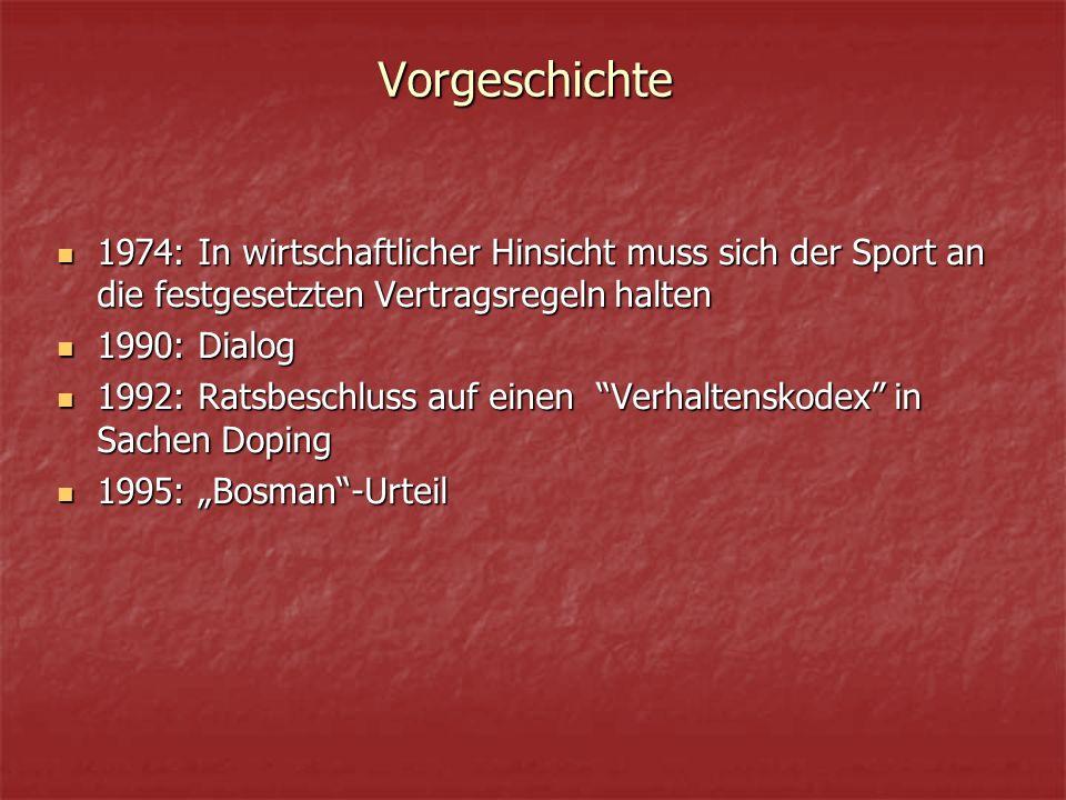 """Vorgeschichte 1974: In wirtschaftlicher Hinsicht muss sich der Sport an die festgesetzten Vertragsregeln halten 1974: In wirtschaftlicher Hinsicht muss sich der Sport an die festgesetzten Vertragsregeln halten 1990: Dialog 1990: Dialog 1992: Ratsbeschluss auf einen Verhaltenskodex in Sachen Doping 1992: Ratsbeschluss auf einen Verhaltenskodex in Sachen Doping 1995: """"Bosman -Urteil 1995: """"Bosman -Urteil"""