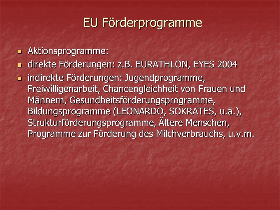 EU Förderprogramme Aktionsprogramme: Aktionsprogramme: direkte Förderungen: z.B.