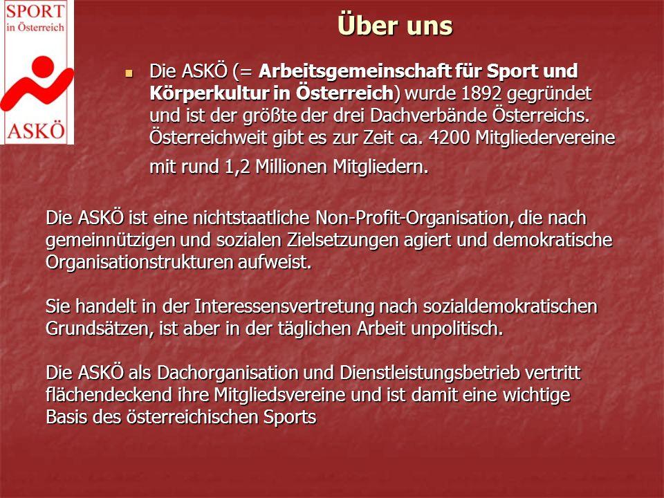 Über uns Die ASKÖ (= Arbeitsgemeinschaft für Sport und Körperkultur in Österreich) wurde 1892 gegründet und ist der größte der drei Dachverbände Österreichs.