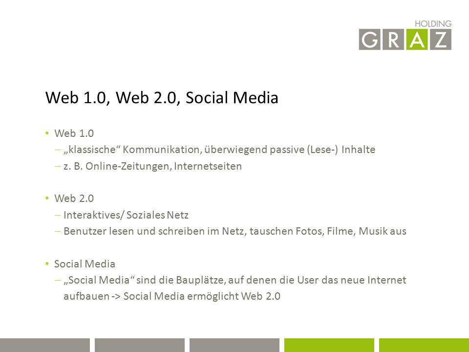 """Web 1.0, Web 2.0, Social Media Web 1.0  """"klassische"""" Kommunikation, überwiegend passive (Lese-) Inhalte  z. B. Online-Zeitungen, Internetseiten Web"""