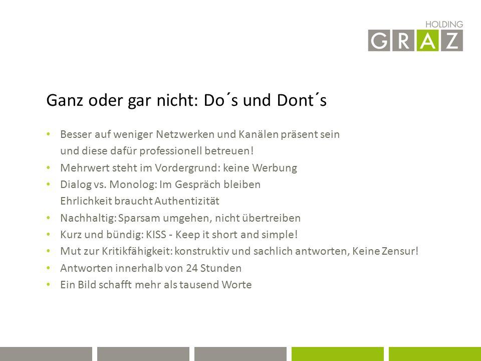 Holding Graz / Auswertung 13.11.2013 (7 Tage) Holding (314 Gefällt mir; 113.564 Reichweite, 6526 eingebundene Nutzer) Auster (301; 35.516; 6.526) Schöckl (422; 116.929; 16.861) E-Mobility (62; 10.749; 194) Spa zur Sonne (322; 22.149; 704) Tramway Museum Graz (1; 3162; 401) Graz Bike (123; 22.488; 437) Ankünder (1; 236; 36)