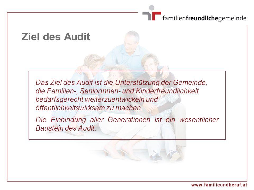 Ziel des Audit Das Ziel des Audit ist die Unterstützung der Gemeinde, die Familien-, SeniorInnen- und Kinderfreundlichkeit bedarfsgerecht weiterzuentw
