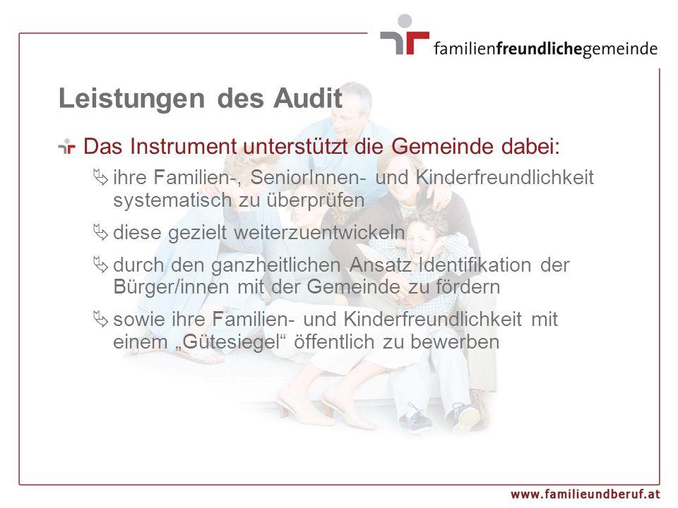 Leistungen des Audit Das Instrument unterstützt die Gemeinde dabei:  ihre Familien-, SeniorInnen- und Kinderfreundlichkeit systematisch zu überprüfen