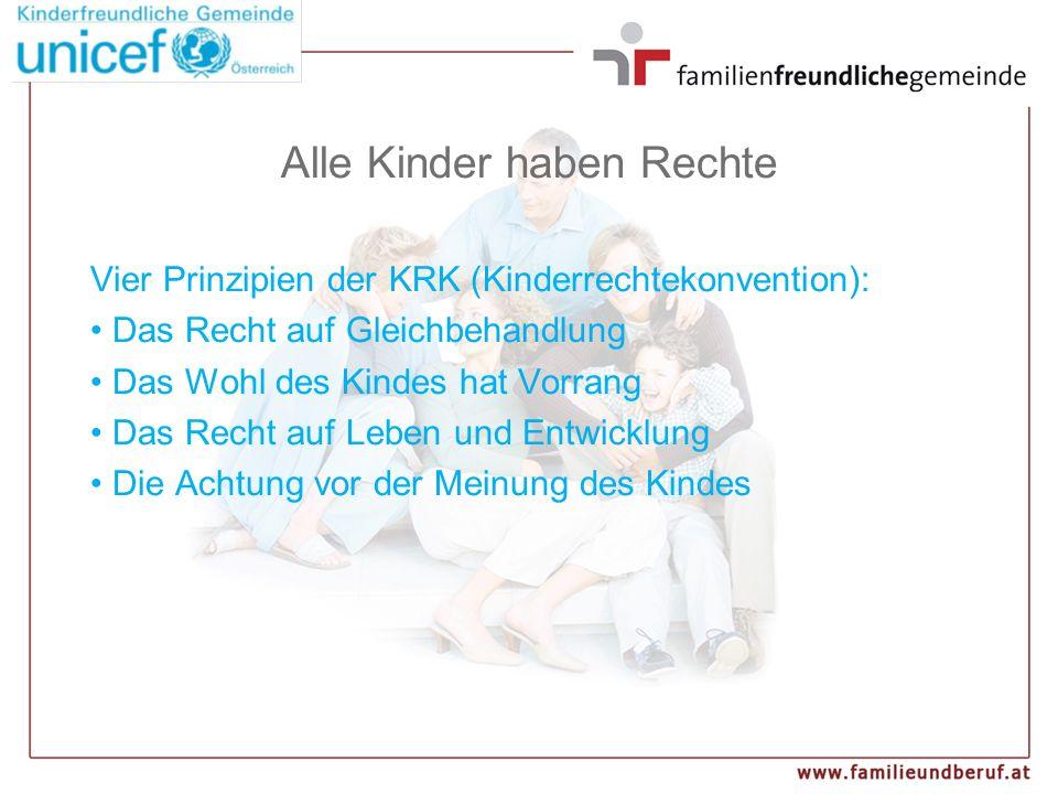 Alle Kinder haben Rechte Vier Prinzipien der KRK (Kinderrechtekonvention): Das Recht auf Gleichbehandlung Das Wohl des Kindes hat Vorrang Das Recht auf Leben und Entwicklung Die Achtung vor der Meinung des Kindes