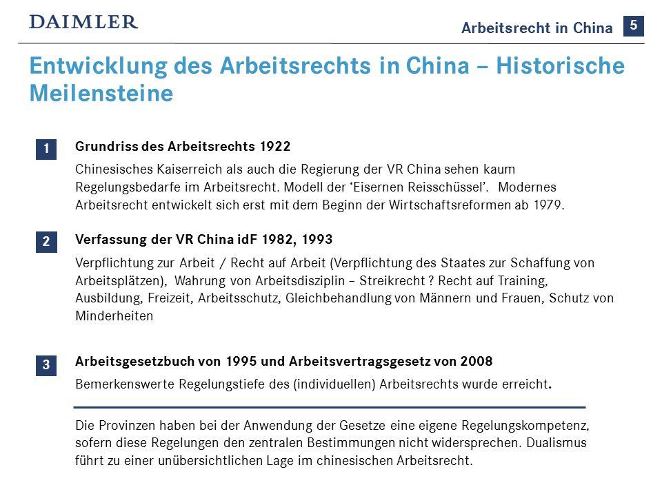 Entwicklung des Arbeitsrechts in China – Historische Meilensteine Grundriss des Arbeitsrechts 1922 Chinesisches Kaiserreich als auch die Regierung der VR China sehen kaum Regelungsbedarfe im Arbeitsrecht.