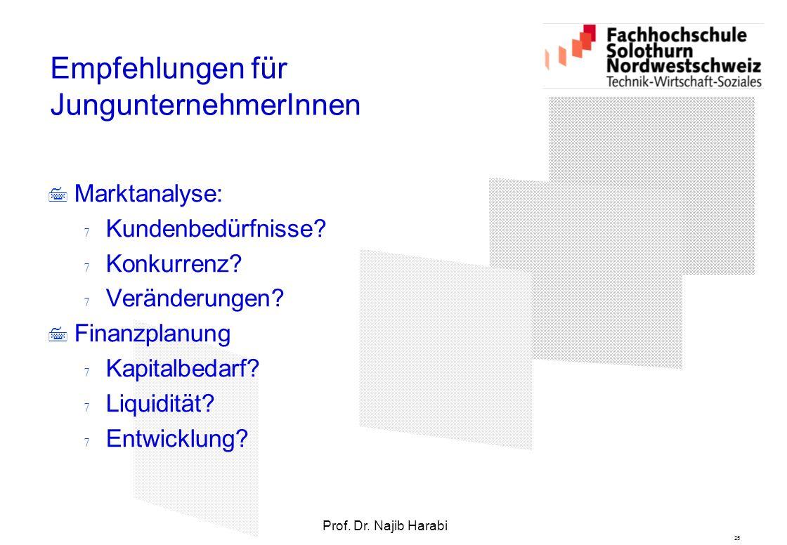 25 Prof. Dr. Najib Harabi Empfehlungen für JungunternehmerInnen  Marktanalyse:  Kundenbedürfnisse?  Konkurrenz?  Veränderungen?  Finanzplanung 