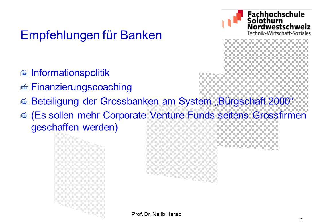 """26 Prof. Dr. Najib Harabi Empfehlungen für Banken  Informationspolitik  Finanzierungscoaching  Beteiligung der Grossbanken am System """"Bürgschaft 20"""