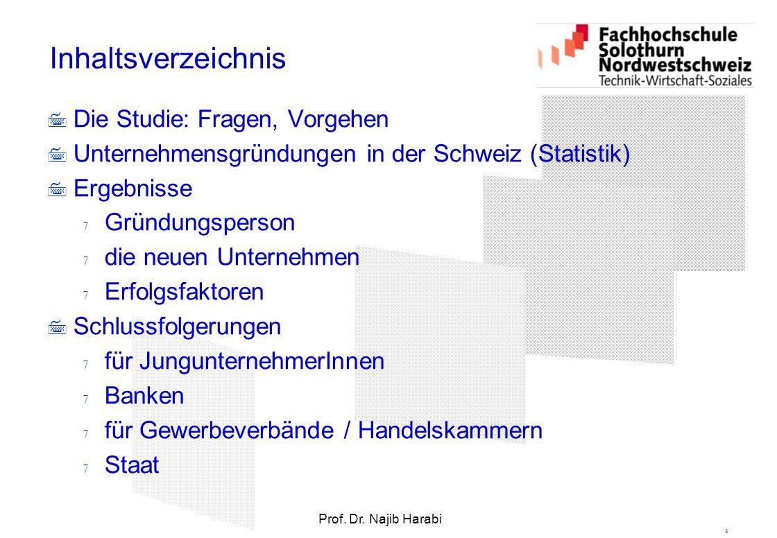 4 Prof. Dr. Najib Harabi Inhaltsverzeichnis  Die Studie: Fragen, Vorgehen  Unternehmensgründungen in der Schweiz (Statistik)  Ergebnisse  Gründung