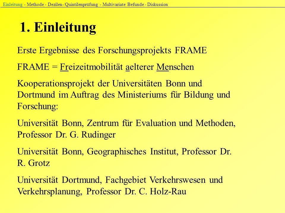 1. Einleitung Einleitung - Methode - Dezilen-/Quintilenprüfung - Multivariate Befunde - Diskussion Erste Ergebnisse des Forschungsprojekts FRAME Koope