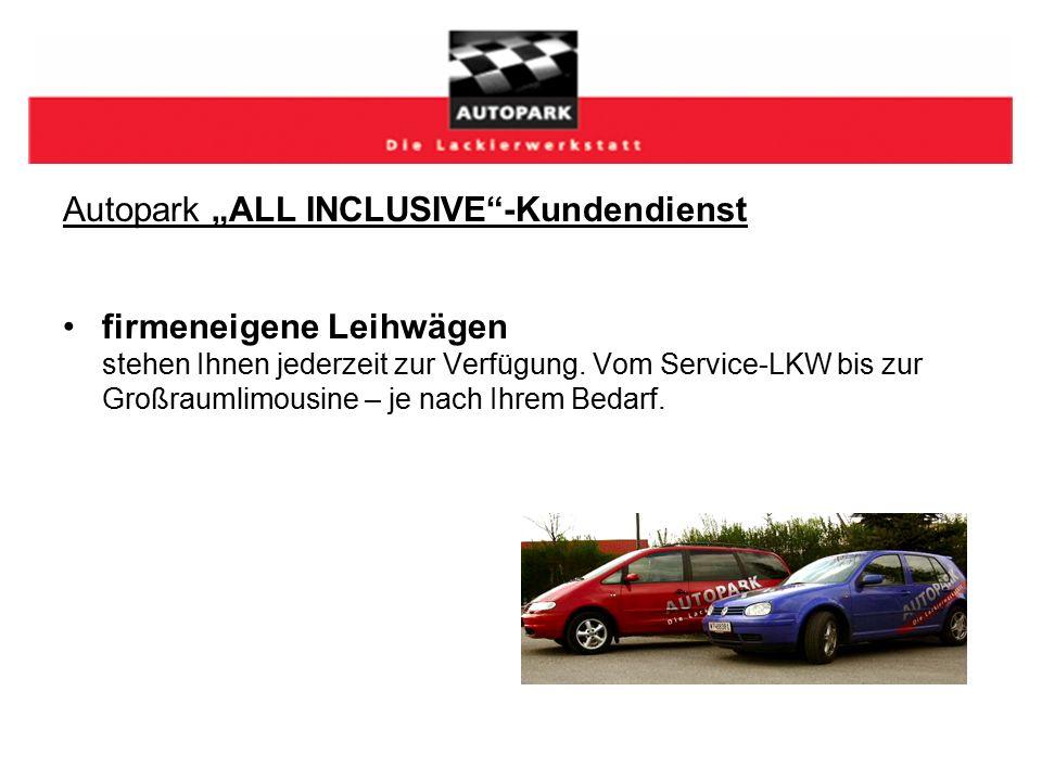 """Autopark """"ALL INCLUSIVE -Kundendienst firmeneigene Leihwägen stehen Ihnen jederzeit zur Verfügung."""