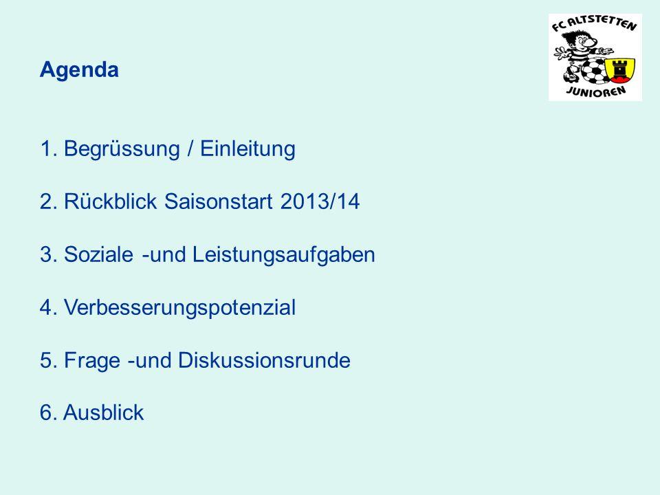 Agenda 1. Begrüssung / Einleitung 2. Rückblick Saisonstart 2013/14 3. Soziale -und Leistungsaufgaben 4. Verbesserungspotenzial 5. Frage -und Diskussio