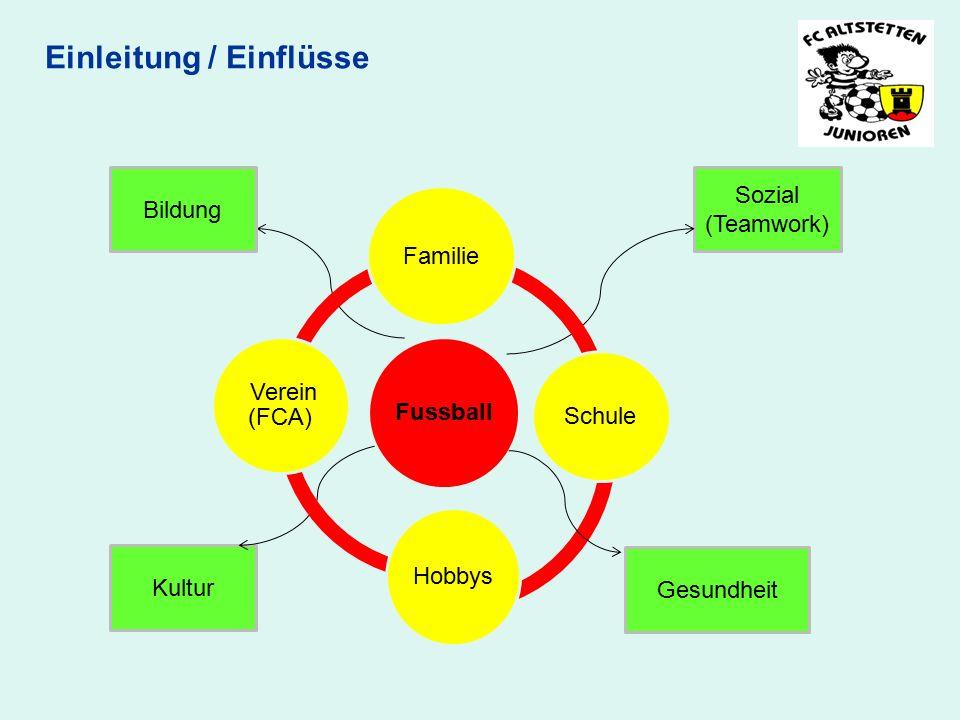 Einleitung / Einflüsse Bildung Sozial (Teamwork) Kultur Fussball Familie Schule Hobbys Verein (FCA) Gesundheit