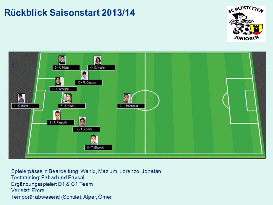 Rückblick Saisonstart 2013/14 1. Spielerpässe in Bearbeitung: Wahid, Mazlum, Lorenzo, Jonatan Testtraining: Fahad und Faysal Ergänzungsspieler: D1 & C