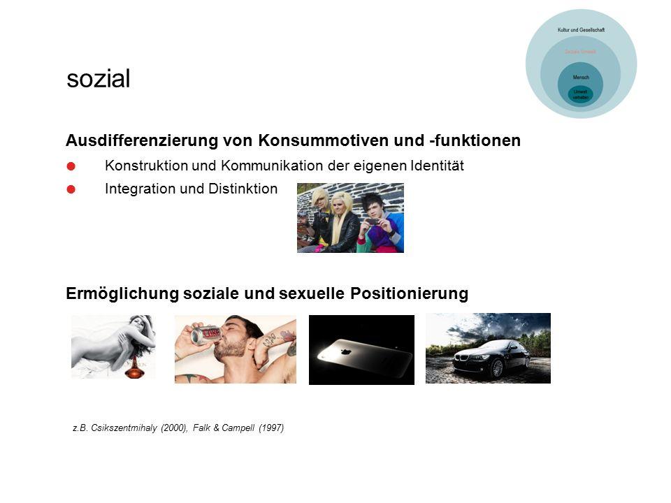 sozial Ermöglichung soziale und sexuelle Positionierung z.B. Csikszentmihaly (2000), Falk & Campell (1997) Ausdifferenzierung von Konsummotiven und -f