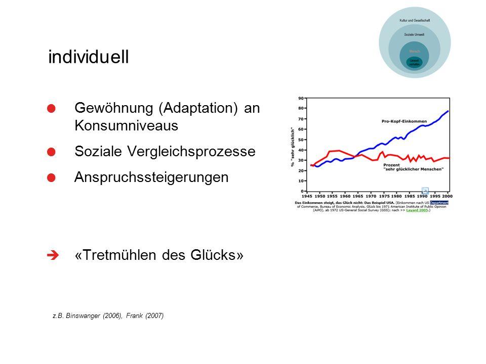 individuell  Gewöhnung (Adaptation) an Konsumniveaus  Soziale Vergleichsprozesse  Anspruchssteigerungen  «Tretmühlen des Glücks» z.B. Binswanger (