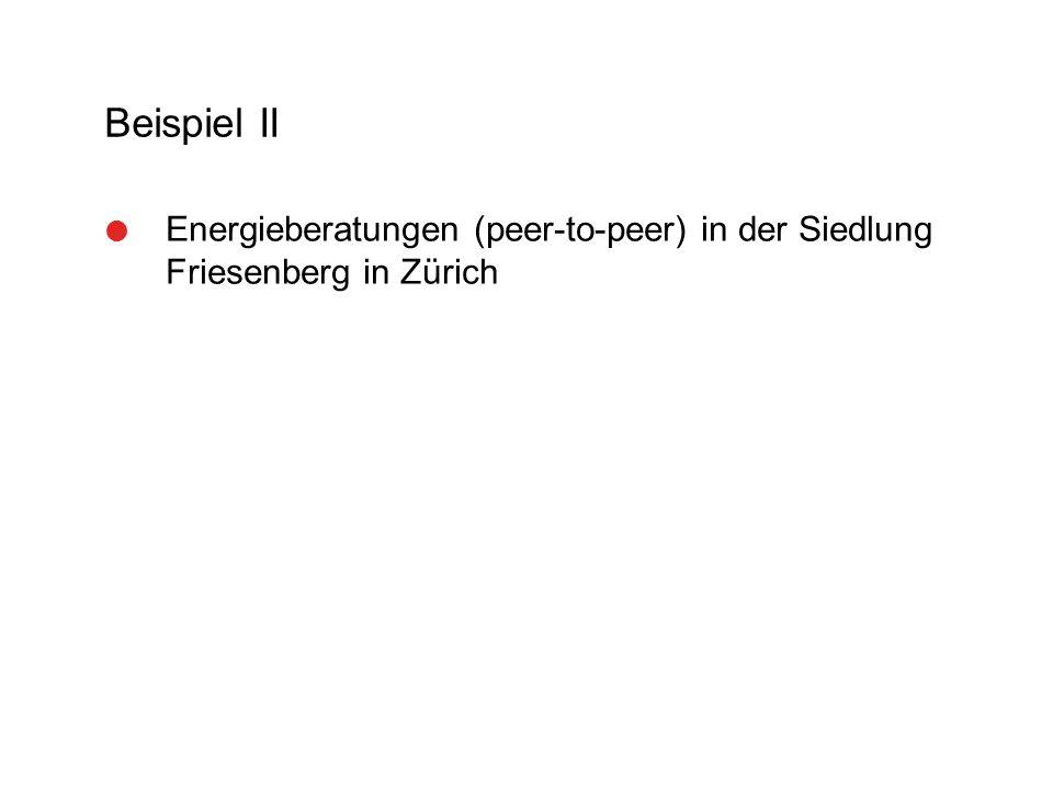Beispiel II  Energieberatungen (peer-to-peer) in der Siedlung Friesenberg in Zürich