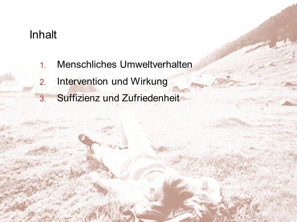 Inhalt 1. Menschliches Umweltverhalten 2. Intervention und Wirkung 3. Suffizienz und Zufriedenheit