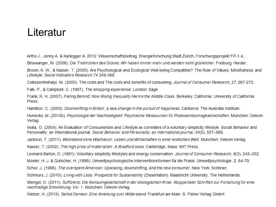Literatur Artho J., Jenny A. & Karlegger A. 2012: Wissenschaftsbeitrag. Energieforschung Stadt Zürich, Forschungsprojekt FP-1.4,. Binswanger, M. (2006