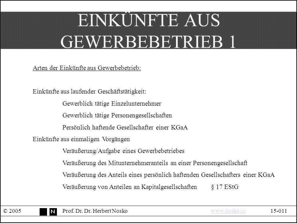 EINKÜNFTE AUS GEWERBEBETRIEB 1 © 2005Prof. Dr. Dr.