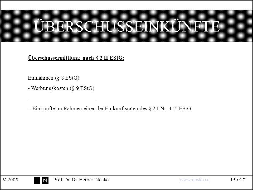 ÜBERSCHUSSEINKÜNFTE © 2005Prof. Dr. Dr.