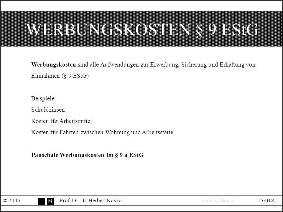 WERBUNGSKOSTEN § 9 EStG © 2005Prof. Dr. Dr.
