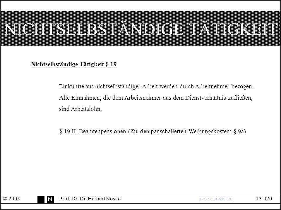 EINKÜNFTE AUS KAPITALVERMÖGEN § 20 © 2005Prof.Dr.