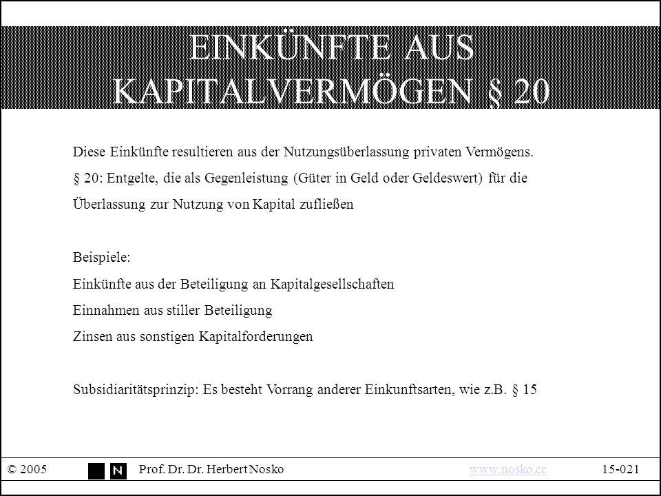 EINKÜNFTE AUS KAPITALVERMÖGEN § 20 © 2005Prof. Dr.