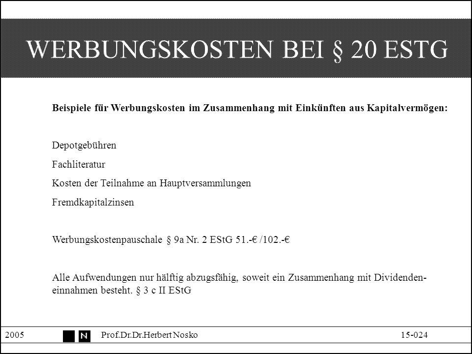 SPARER-FREIBETRAG § 20 IV © 2005Prof.Dr. Dr.