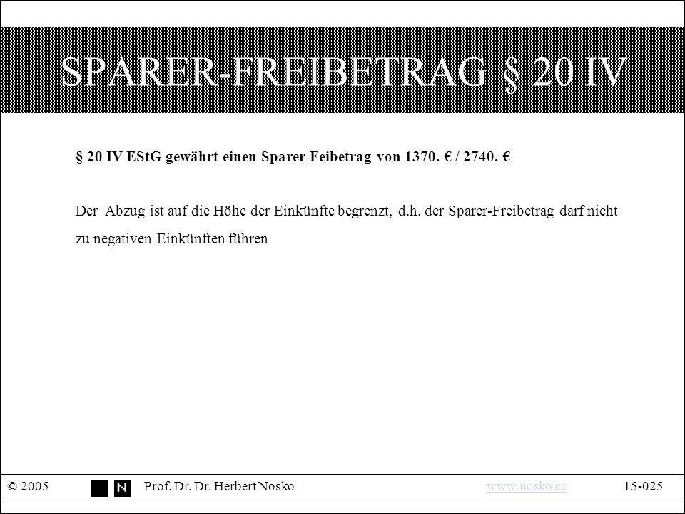 SPARER-FREIBETRAG § 20 IV © 2005Prof. Dr. Dr.