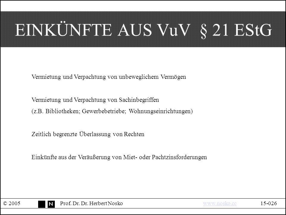 EINKÜNFTE AUS VuV § 21 EStG © 2005Prof. Dr. Dr.