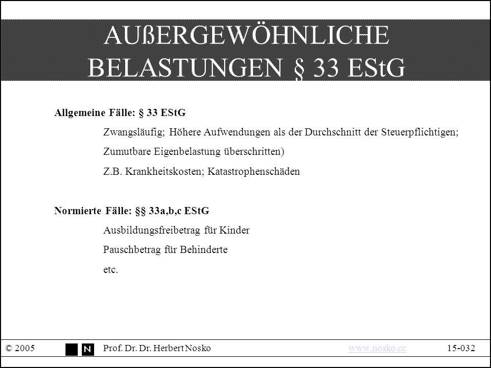 AUßERGEWÖHNLICHE BELASTUNGEN § 33 EStG © 2005Prof.