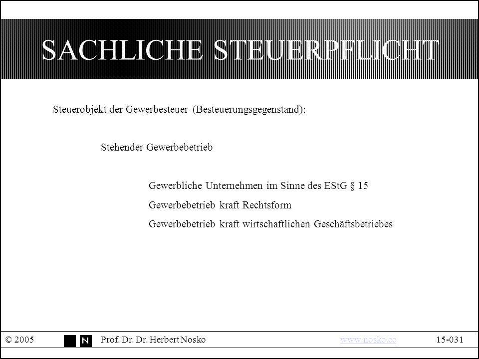 SACHLICHE STEUERPFLICHT © 2005Prof.Dr. Dr.