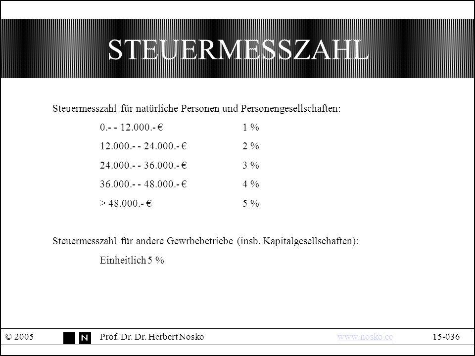 STEUERMESSZAHL © 2005Prof.Dr. Dr.
