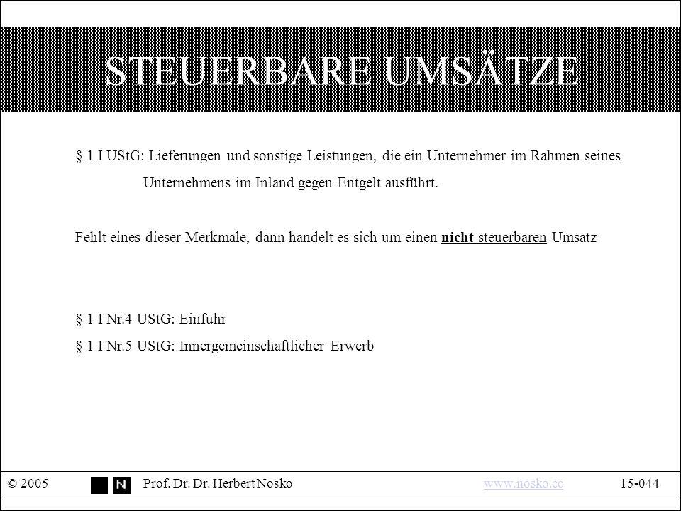STEUERBARE UMSÄTZE © 2005Prof. Dr. Dr.