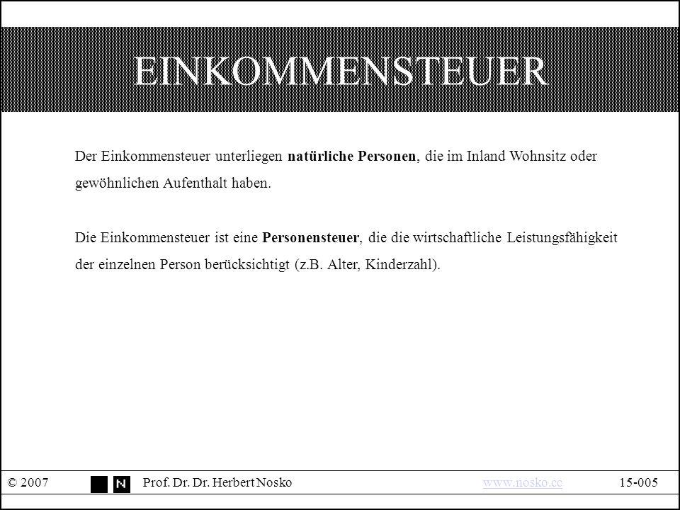 EINKOMMENSTEUER © 2007Prof.Dr. Dr.