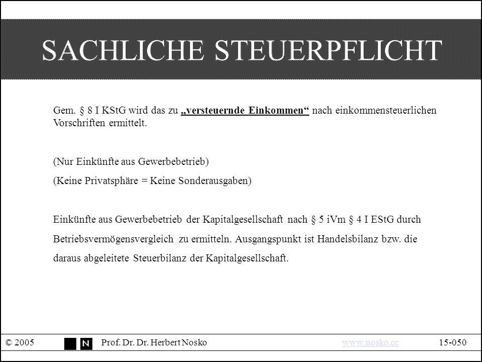 SACHLICHE STEUERPFLICHT © 2005Prof. Dr. Dr. Herbert Noskowww.nosko.cc15-050www.nosko.cc Gem.