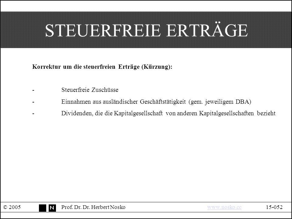 STEUERFREIE ERTRÄGE © 2005Prof. Dr. Dr.