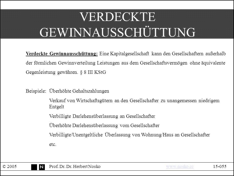 VERDECKTE GEWINNAUSSCHÜTTUNG © 2005Prof. Dr. Dr.