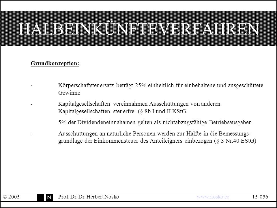 HALBEINKÜNFTEVERFAHREN © 2005Prof. Dr. Dr.