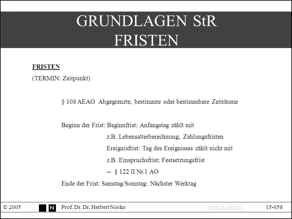 GRUNDLAGEN StR FRISTEN © 2005Prof. Dr. Dr.