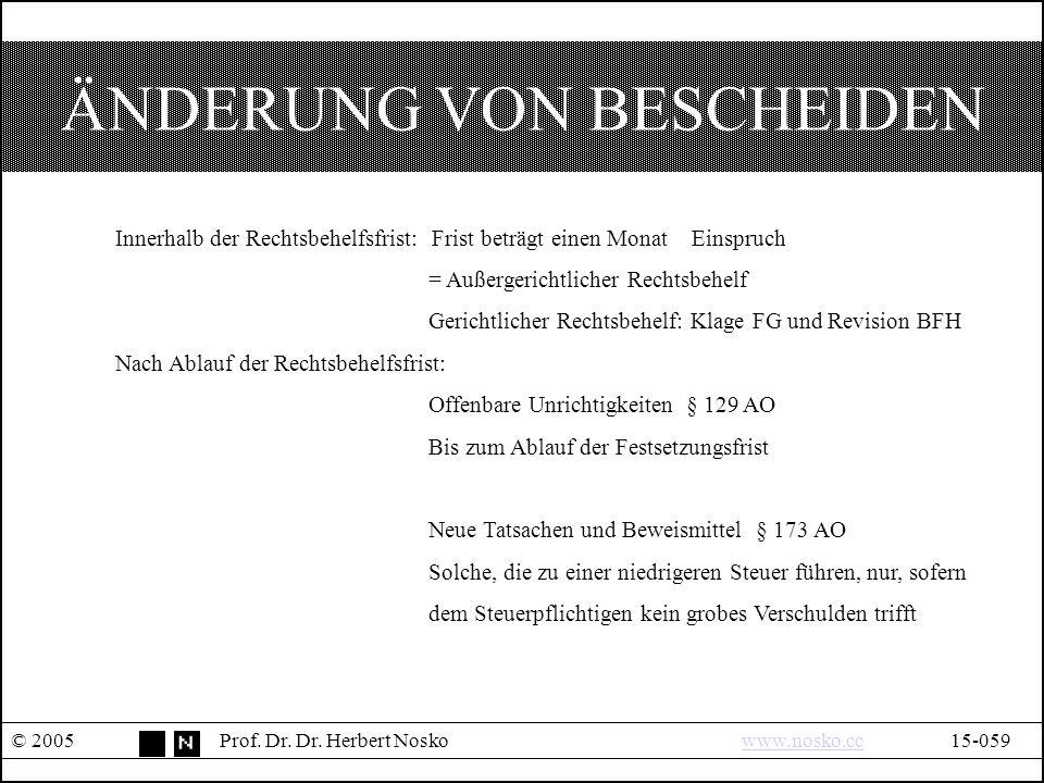 ÄNDERUNG VON BESCHEIDEN © 2005Prof. Dr. Dr.
