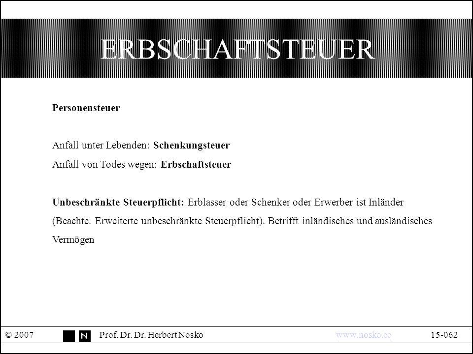 ERBSCHAFTSTEUER © 2007Prof.Dr. Dr.