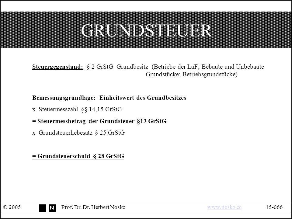GRUNDSTEUER © 2005Prof. Dr. Dr.