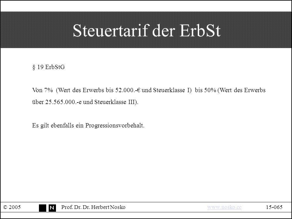 Steuertarif der ErbSt © 2005Prof. Dr. Dr.