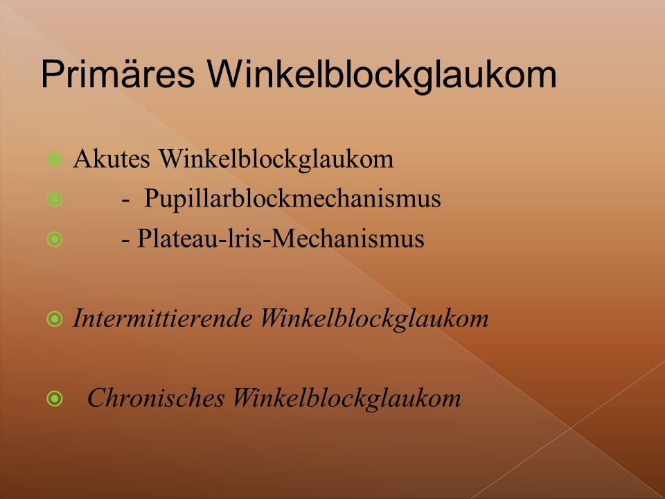  Akutes Winkelblockglaukom  - Pupillarblockmechanismus  - Plateau-lris-Mechanismus  Intermittierende Winkelblockglaukom  Chronisches Winkelblockglaukom