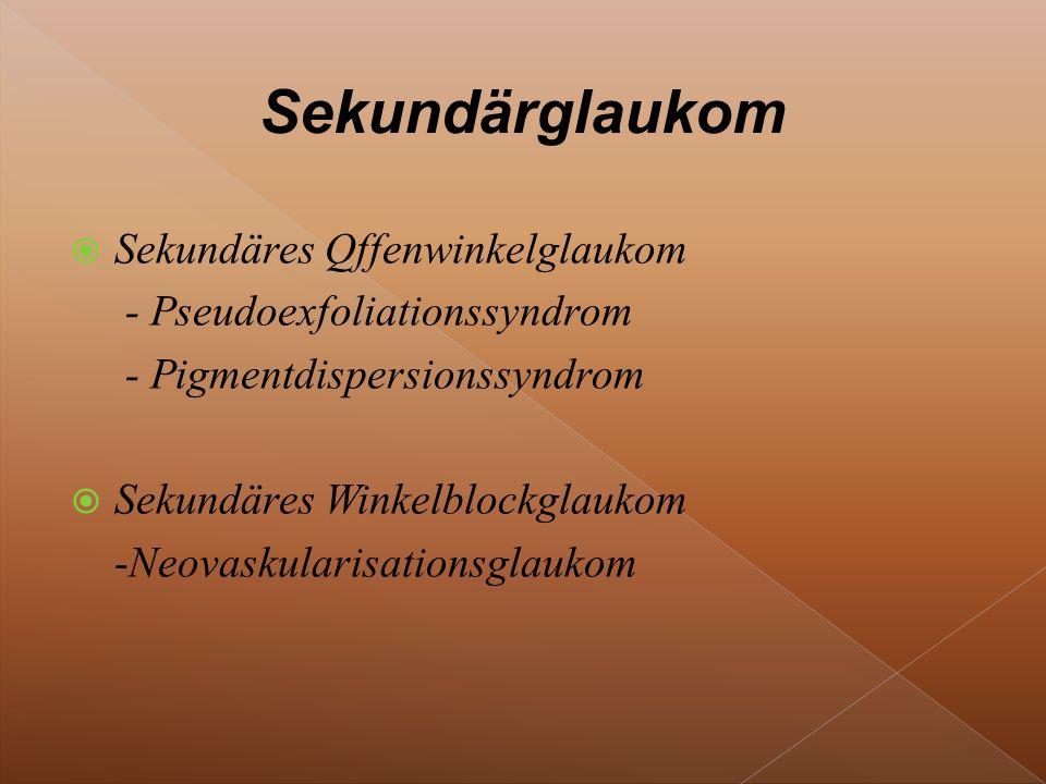  Sekundäres Qffenwinkelglaukom - Pseudoexfoliationssyndrom - Pigmentdispersionssyndrom  Sekundäres Winkelblockglaukom -Neovaskularisationsglaukom
