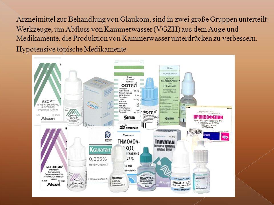 Arzneimittel zur Behandlung von Glaukom, sind in zwei große Gruppen unterteilt: Werkzeuge, um Abfluss von Kammerwasser (VGZH) aus dem Auge und Medikamente, die Produktion von Kammerwasser unterdrücken zu verbessern.